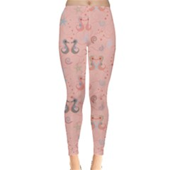 Pink Pattern With Sea Horses Shells And Stars Leggings by CoolDesigns