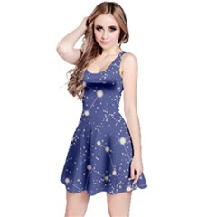 Blue Pattern With Constellations Of Southern Hemisphere Sleeveless Skater Dress