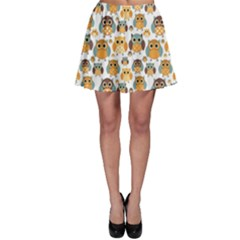 Orange Owl Pattern Skater Skirt