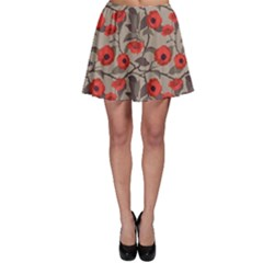 Red Pattern Flowers Roses Floral Vintage Style Skater Skirt by CoolDesigns