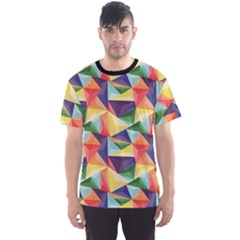 Colorful Triangle Pattern Geometric Abstract Texture Men s Sport Mesh Tee by CoolDesigns