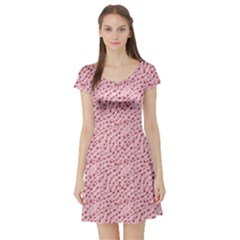 Pink Cute Pink Valentine Day Pattern Cute Hearts Short Sleeve Skater Dress by CoolDesigns