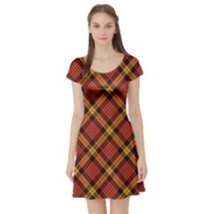 Red Textured Tartan Plaid Pattern Short Sleeve Skater Dress by CoolDesigns