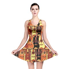 Colorful Pattern With Guitars Reversible Skater Dress by CoolDesigns