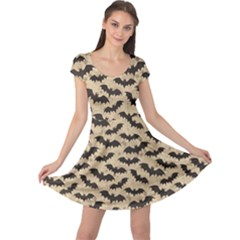 Brown Bats Design Pattern Cap Sleeve Dress by CoolDesigns