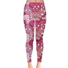 Pink Pattern Of Pink Girl Skulls With Bow On A White Women s Leggings