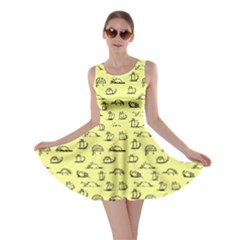 Yellow Kitten Lovely Cats Pattern Skater Dress by CoolDesigns