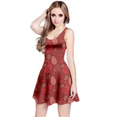 Red Cute Skulls Pattern Skater Dress