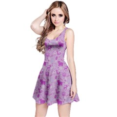 Purple Woodland Animals Pattern Sleeveless Dress