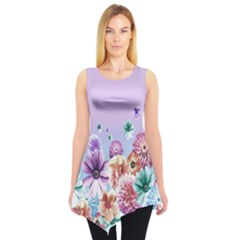 Violet Floral Sleeveless Tunic Top by CoolDesigns