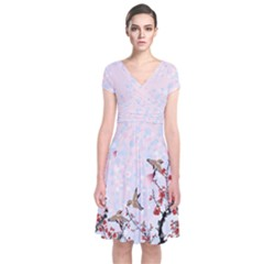Bird Blossom Japanese Style Cherry Blossom Short Sleeve Front Wrap Dress by CoolDesigns