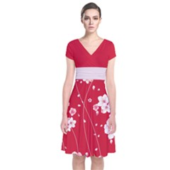 Red Blossom Japanese Style Cherry Blossom Short Sleeve Front Wrap Dress