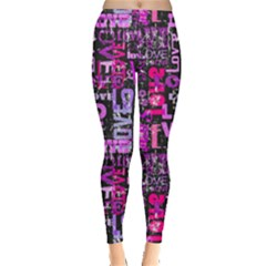 Love Text 2 Leggings  by CoolDesigns