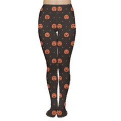 Black Black D Polka Dots Pattern With Halloween Pumpkin Women s Tights by CoolDesigns