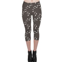 Black Music Elements Notes Web Flat Design Gray Pattern Capri Leggings