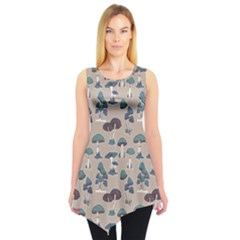 Blue Colorful Mushrooms Pattern Sleeveless Tunic Top by CoolDesigns