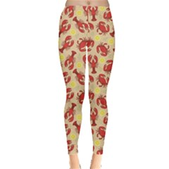 Red Lobster And Crab Lemon And Dill Pattern Leggings by CoolDesigns