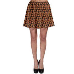 Brown Halloween Pattern With Simple Cute Pumpkins Skater Skirt by CoolDesigns