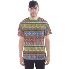 Green Colorful Aztec Pattern With Birds Men s Sport Mesh Tee by CoolDesigns