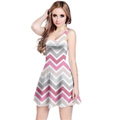 Pink Grunge Chevron Pattern Stylish Design Short Sleeve Skater Dress by CoolDesigns