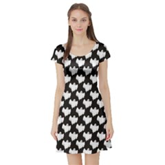 Black Night Flying Ghost Halloween Pattern On Black Short Sleeve Skater Dress by CoolDesigns