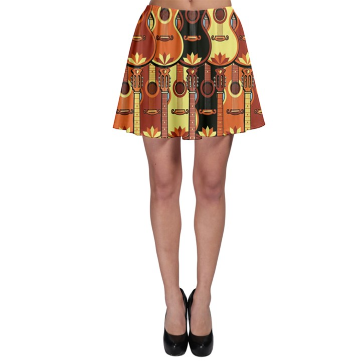 Colorful Pattern with Guitars Skater Dress