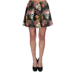 Colorful Beautiful Pattern With Nice Watercolor Skull And Flowers Skater Dress by CoolDesigns