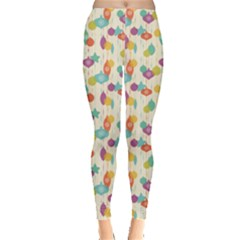 Colorful Christmas Pattern On Light Leggings by CoolDesigns