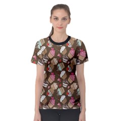 Colorful Pattern Of Tasty Cupcakes Women s Sport Mesh Tee by CoolDesigns