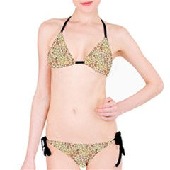 Colorful Floral Pattern With Butterflies On Beige Bikini Set by CoolDesigns