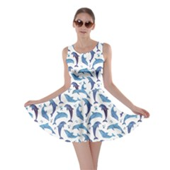 Blue Watercolor Pattern With Dolphins Skater Dress by CoolDesigns