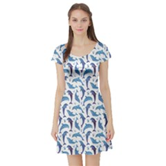 Blue Watercolor Pattern With Dolphins Short Sleeve Skater Dress by CoolDesigns