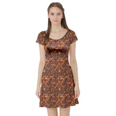 Brown Pattern Steampunk Mechanism Metal Short Sleeve Skater Dress by CoolDesigns