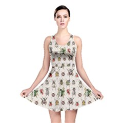 Gray Pattern With Watercolor Beetles Reversible Skater Dress by CoolDesigns