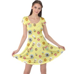 Yellow Bright Colorful Flat Pattern With Cups Of Black Coffee Cap Sleeve Dress by CoolDesigns