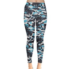 Blue Surf Pattern With Palm Trees Pattern Women s Leggings by CoolDesigns