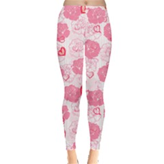 Floral Heart Leggings  by CoolDesigns