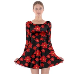Xmas Flowers Long Sleeve Skater Dress by CoolDesigns