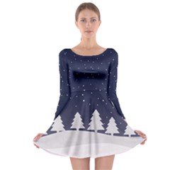 Snow Night Long Sleeve Skater Dress by CoolDesigns