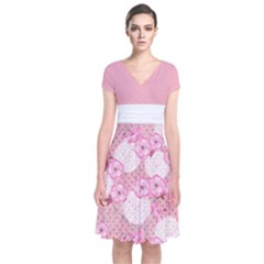 Pink Blossom Japanese Style Cherry Blossom Short Sleeve Front Wrap Dress by CoolDesigns