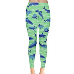 Green Shark 2 Leggings  by CoolDesigns