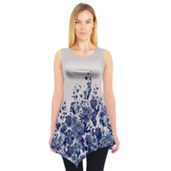 Gray Floral Sleeveless Tunic Top by CoolDesigns