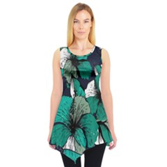 Green Floral Sleeveless Tunic Top by CoolDesigns