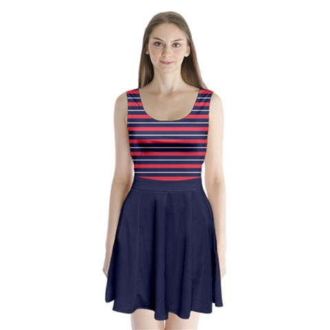 Navy Stripes Split Back Mini Dress