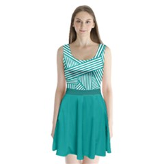 Turquoise Stripes Split Back Mini Dress  by CoolDesigns