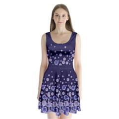 Dark Purple Floral Split Back Mini Dress