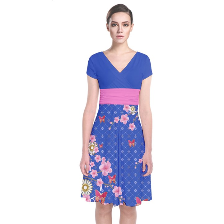 Blue Blossom Japanese Style Cherry Blossom Short Sleeve Front Wrap Dress