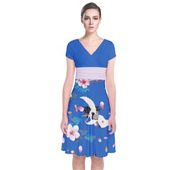 Crane Blue 2 Japanese Style Cherry Blossom Short Sleeve Front Wrap Dress