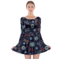 Navy Xmas Long Sleeve Skater Dress by CoolDesigns