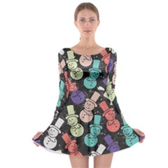 Vintage Snowman Long Sleeve Skater Dress by CoolDesigns